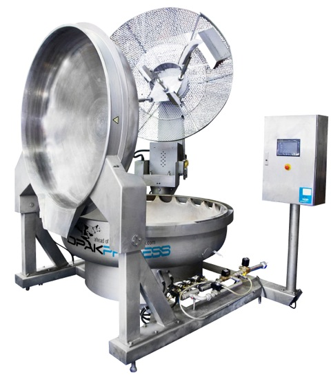 NEW GAS-FIRED WOK (tilting, planetary mixer/scraper with 3 scraper arms)