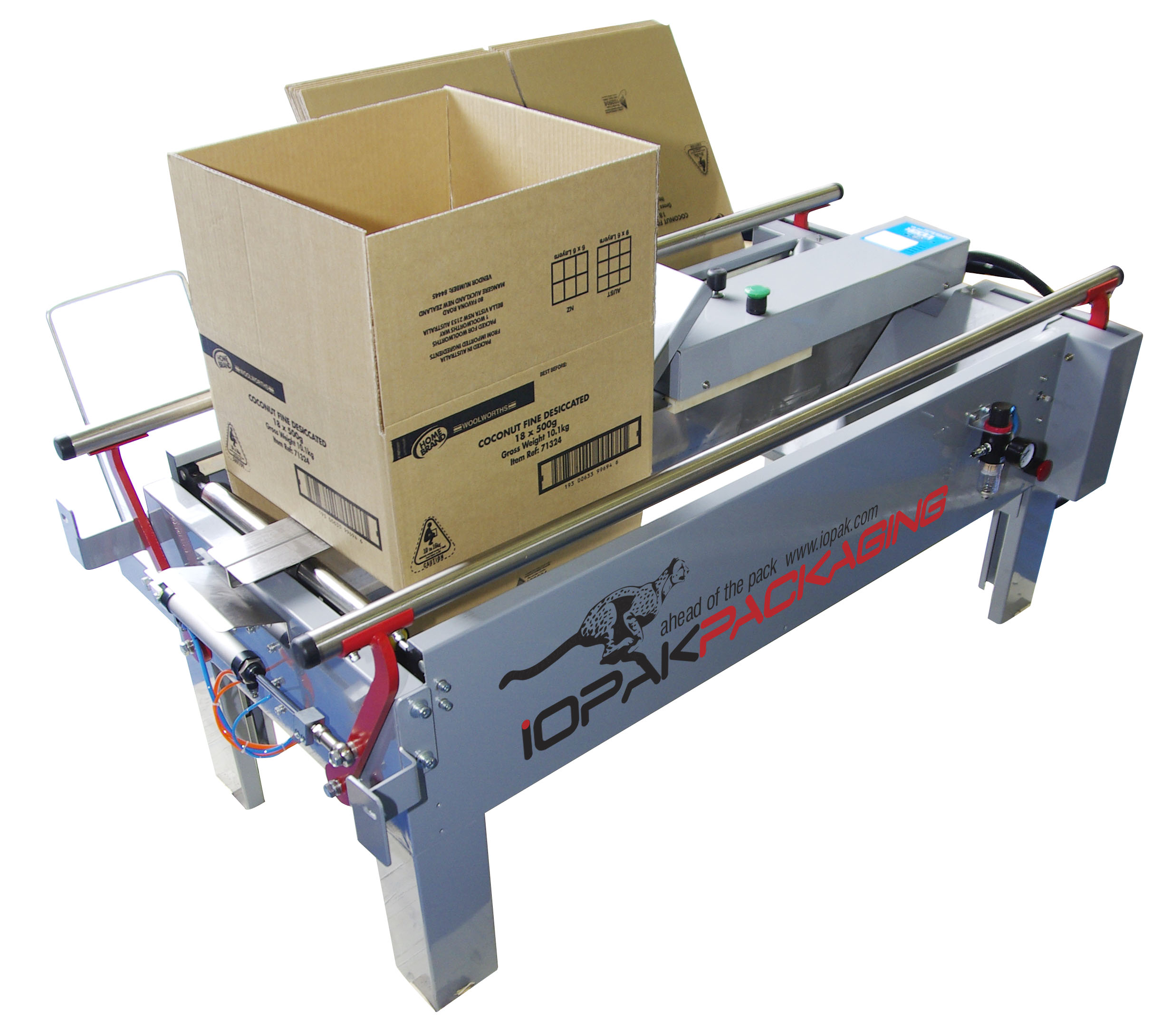 HF-390 Semi Automatic Horizontal Carton Closer GluerIOPAK CF-10T Case Erector