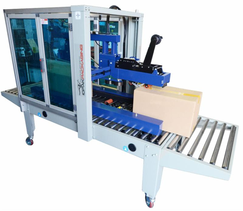 HF-390 Semi Automatic Horizontal Carton Closer GluerIOPAK Auto Carton Folder and Sealer